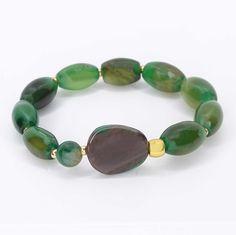 11 € Turquoise Bracelet, Beaded Bracelets, Green, Jewelry, Stretch Bracelets, Green Agate, Matte Gold, Natural Stones, Beading