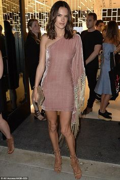 Alessandra Ambrosio wearing Schutz North Sandals in Brown Saddle, Vatanika Metallic Fringe-Trimmed One-Shoulder Silk Velvet Mini Dress and Whiting & Davis Dimple Mesh Clutch