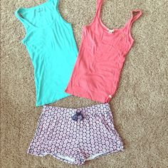 Spring Sleep Set Turquoise old navy ribbed tank(small), pink abercrombie tank (large). Flower shorts (no size) will fit small/medium Tops Tank Tops