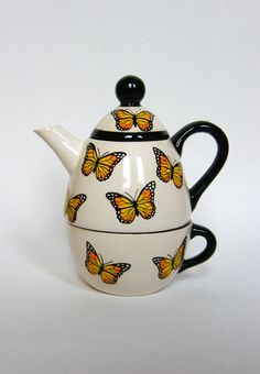 Tea for One Set with Monarch Butterflies by BonCreationz on Etsy,
