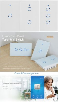 The wireless wall switch can be added to the iOS/Android App eWeLink via WiFi, allowing users to turn on/off connected LED remotely and lights from anywhere at any time. With this touch light switch, users can check real-time light status on their smartphones. #Switch #gadget #light #lamp #simple #smart #smartswitch #wifi #androite #led #touch #smartphone #led #app #iOS #wall #wallswitch #wireless #remote #anywhere Gadgets And Gizmos, Electronics Gadgets, Touch Light Switch, Switch Words, Works With Alexa, Busy Life, Android Apps, Wifi, Remote