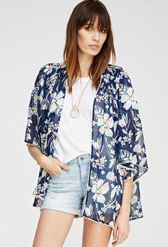 Watercolor Floral Kimono   Forever 21