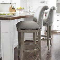Upholstered Swivel Bar Stools With Backs: Kitchen and Elsewhere Choices - goodwo. Upholstered Swivel Bar Stools With Backs: Kitchen and Elsewhere Choices - goodworksfurniture Counter Stools With Backs, Grey Bar Stools, Stools For Kitchen Island, Swivel Counter Stools, Counter Height Bar Stools, Kitchen Chairs, Home Decor Kitchen, Bar Counter, High Bar Stools