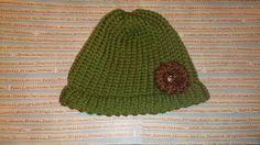 Green Loom Knitted Beanie with Flower by TiffSitsandKnits on Etsy, $15.00