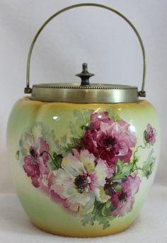 Biscuit Barrel -- 1930's English Porcelain Biscuit Jar featuring floral transfer pattern
