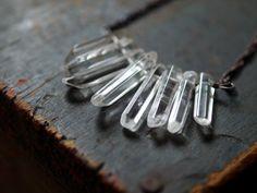Crystal Point Necklace Clear Rock Quartz Oxidized Copper Handmade Jewelry. $48.00, via Etsy.