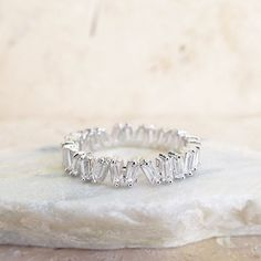 Gorgeous Unique Baguette Full Eternity CZ stone Ring 4 mm in height / Wedding Band/ Promise ring / Stacking rings / Engagement Wedding Full Eternity