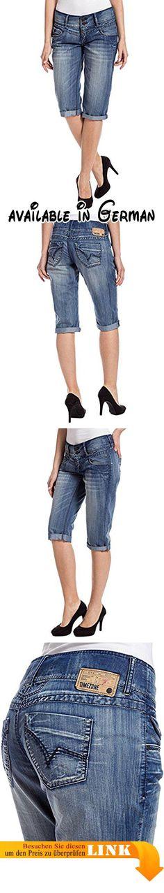Timezone Damen Short New BrittTZ 3/4, Gr. 38 (Herstellergröße: 29), Blau (buffy line wash 3410). Grade geschnittene Jeans Short. normale Bundhöhe #Apparel #PANTS