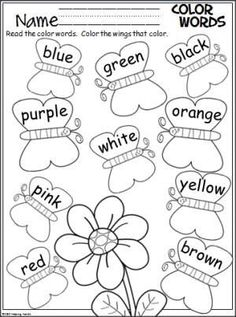 colors coloring worksheetsbutterfly wingscolor word activitiesfree - Free Color Word Worksheets