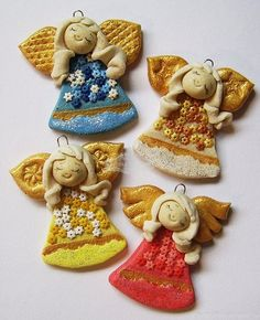 salt dough angels. Can make other things too like crosses I have seen  with beach glass in them.