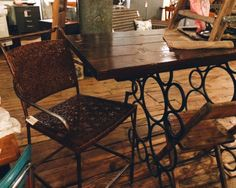 Tall Chair and Wrought Iron Table Base with Wood Top (unattached)