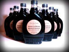 Vanilla Bean Maple Syrup Jar Labels designed by Let's Get Saucy. Jar Labels, Bottle Labels, Colored Labels, Online Labels, Olive Gardens, Label Design, Maple Syrup, Vanilla, Let It Be
