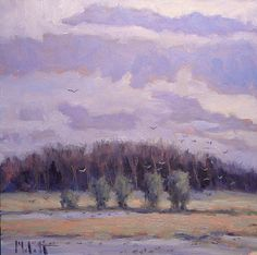 Heidi Malott Original Paintings: Eagle Marsh Wetland Nature Preserve at Sunset Dusk...