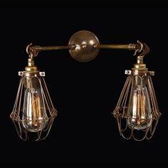 Jailhouse Gemini Antique Brass Wall Light, £180