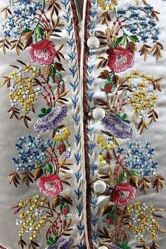 Detail of an embroidered gentleman's waistcoat early century, of ivory satin worked in floss and corded silks with wildflowers. Embroidery Suits, Silk Ribbon Embroidery, Crewel Embroidery, Hand Embroidery Designs, Embroidery Needles, Machine Embroidery, Embroidered Clothes, Textiles, Needlework
