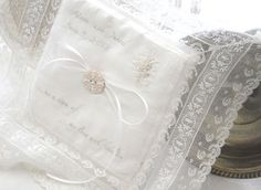Personalized Lace Ivory White Ring Bearer Pillow