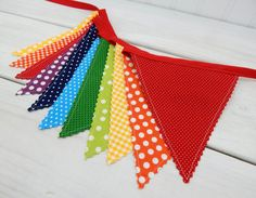Birthday Decoration, Colorful Bunting, Fabric Banner Flags, Baby Nursery Decor, Cake Smash, Rainbow Baby - Rainbow, Dots, Gingham
