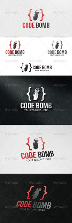 Code Bomb - Logo Template  #GraphicRiver Web Design, Graphic Design, Information Graphics, Logo Templates, Mafia, Web Development, Link, Branding, Letters