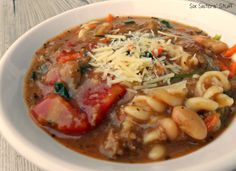 Quick Italian Turkey Soup.  Easy, healthy and delicious! Sixsistersstuff.com #soup #recipe