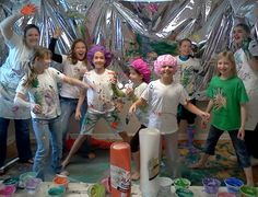 A grande finale at our Pollock Party!  www.PoshinKids.com Paint Party, Easy Paintings, Color Show, Art For Kids, Parties, Canvas, Artwork, Fun, Pictures