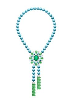 Piaget Extremely Piaget necklace in white gold set with 301ct of turquoise beads, 42ct of chrysoprase beads, a 23ct cabochon emerald, 15ct of pear-shaped chrysoprase, pear-shaped turquoise and brilliant-cut diamonds. Biennale des Antiquaires 2014