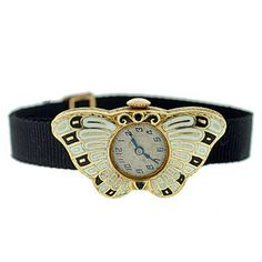 Art Deco 14k & enamel watch