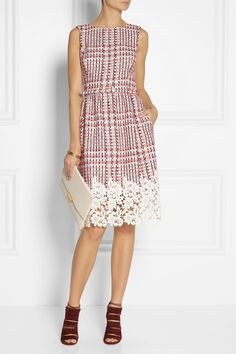 Oscar de la Renta                               Guipure lace-trimmed tweed dress