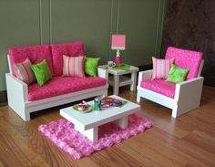 Image detail for -DIY & crafts / 18 Doll Furniture - American Girl sized Living Room ...