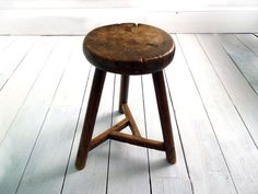 Antique Elm Stool, Cricket Stool, Dairy Stool, Wooden Kitchen Stool, English Antiques, English Furniture, Wood Stool, Antique Furniture