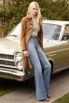 Ultra-flattering flares, retro-fitted ribbed tops and soft shades of camel. It's the 70s everywhere we look! │ H&M New Elegance