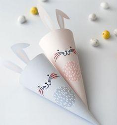 Free printables - easter bunny treat cones / Nyuszi alakú húsvéti papír tölcsérek - ajándék csomagolás / Mindy