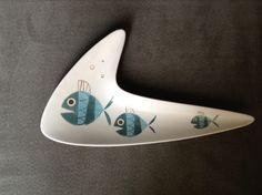 Metlox Tropicana boomerang shaped dish with fish motif