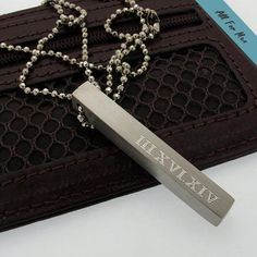 Anniversary Necklace for Men / Roman Date Engraved Pendant