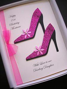 personalised handmade black shoe birthday card 18th 21st 30th 40th