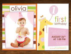 Sweet at One Giraffe Girl Birthday Invitation Photo Card, Jungle Theme, 5x7, Printable, Custom. $15.00, via Etsy.