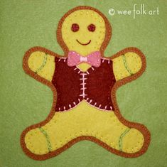 Gingerbread Man Applique Block | Wee Folk Art