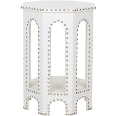 Nara End Table White ($226) ❤ liked on Polyvore featuring home, furniture, tables, accent tables, end tables, side table, white shelving, white furniture, white end table and hexagon table