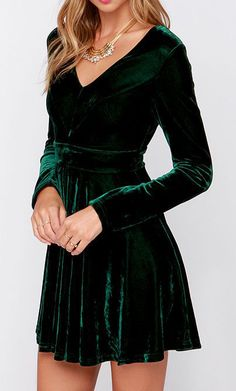Lovestruck Encounter Dark Green Velvet Dress, would be good for swing dancing with leggings underneath