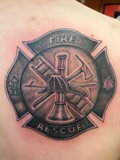 Firefighter tattoo. Black n grey tattoo. Done by Shadow.