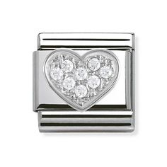 Buy Nomination Composable Classic Silver & White Zirconia Heart Charm at Hugh Rice Jewellers. Free delivery on Nomination. Rated 5 stars by our customers Nomination Charms, Nomination Bracelet, Mens Silver Necklace, Sterling Silver Necklaces, Silver Earrings, Earrings Uk, Dreamland Jewelry, Heart Bracelet, Bracelet Charms