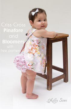 Criss Cross vestido del delantal con Bloomers - el tamaño de patrón de costura GRATIS 0-3m - Melly Sews