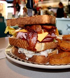 """Mile High Club Sandwich at Rock Cola Cafe, 5730 Brookville Road, Indianapolis, Indiana. Voted the #2 best sandwich in the state of Indiana in the """"Super 46"""" competition sponsored by the Indiana Department of Tourism."""