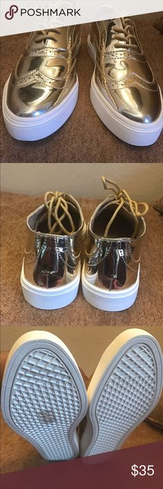 Brand New take a walk on the wild side Size 9! These brand new Gold Shoes go perfect year around with skinny jeans, crop pants, shorts, and skirts! They are very comfortable too! They fit true to size! Who wants them? My house is smoke free and pet free! Shoes Flats & Loafers