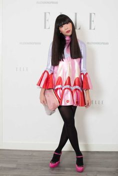 Susie Bubble wearing Meadham Kirchhoff dress, Shrimps bag and jacket, and Miu Miu x POP shoes #susielau #stylebubble