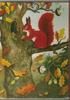 Użyj STRZAŁEK na KLAWIATURZE do przełączania zdjeć Animal Art Projects, Forest Pictures, Fairytale Art, Autumn Activities, Kindergarten Activities, Animal Paintings, Vintage Postcards, Squirrel, Fairy Tales
