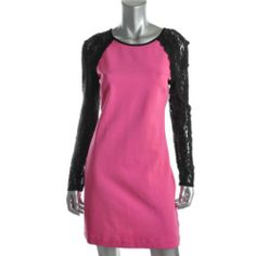 Juicy Couture New Pink Lace Trim Long Sleeves Knee Length Casual Dress M BHFO