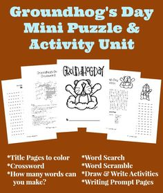 Groundhog Day Activities and puzzles! Preschool Groundhog, Groundhog Day Activities, Holiday Activities, Enrichment Activities, Learning Activities, School Holidays, School Days, School Stuff, Library Lessons