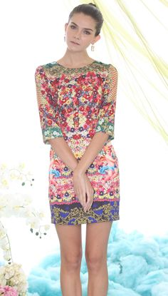 Multi Long Sleeve Floral Angel Print Dress