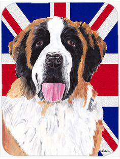 Saint Bernard with English Union Jack British Flag Mouse Pad - Hot Pad or Trivet SC9839MP #artwork #artworks