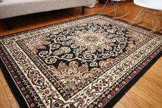 Amazon.com - Traditional Isfahan Persian Area Rugs Black 5'2 x 7'3 - Machine Made Rugs